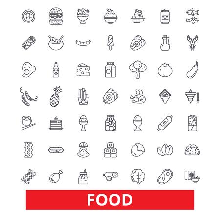 Nourriture, manger, dégustation, pizza, poisson, viande, boulangerie, gâteau, produits, icônes de ligne épicerie. Traits modifiables. Concept de symbole de design plat vector illustration. Signes linéaires isolés sur fond blanc
