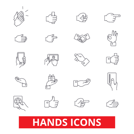 Hands, pointings,  tap, rotate, touch, press, swipe, shake, gesture, emotions line icons. Editable strokes. Flat design vector illustration symbol concept. Linear signs isolated on white background