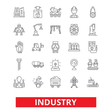 産業工場、製造、組立、エンジニア リング、工場労働者ライン アイコン。編集可能なストローク。フラットなデザイン ベクトル図記号の概念。白