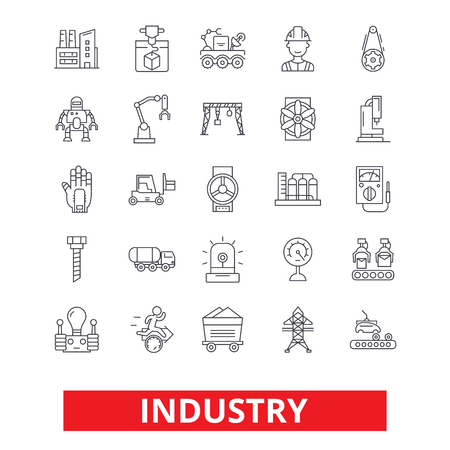 Industry, factory, manufacturing, assembly, engineering, industrial plant worker line icons. Editable strokes. Flat design vector illustration symbol concept. Linear signs isolated on white background Ilustração