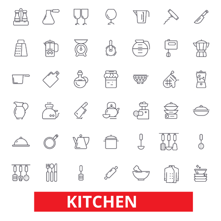 Kitchen cooking tools, restaurant utensils, cookware, kitchenware, food preparation icons. Editable strokes. Flat design vector illustration symbol concept. Line signs isolated on white background