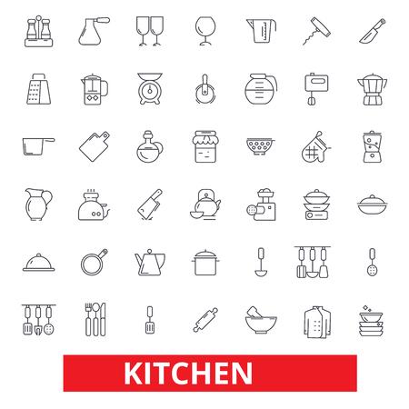 Küchenkochwerkzeuge, Restaurantgeräte, Kochgeschirr, Küchengeschirr, Lebensmittelzubereitungsikonen. Bearbeitbare Striche Flaches Designvektorillustrations-Symbolkonzept. Strichzeichen isoliert auf weißem Hintergrund Vektorgrafik
