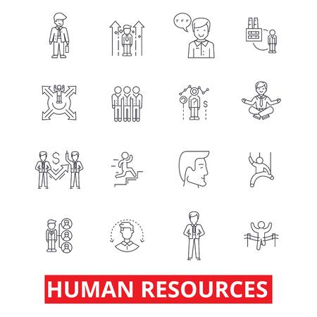 인적 자원, 사람, 고용 직원, hr 조직, 마케팅, 관리 라인 아이콘. 편집 가능한 스트로크. 플랫 디자인 벡터 그림 기호 개념입니다. 흰색 배경에 고립 된  일러스트