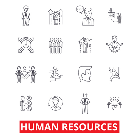 Human resources, people, hiring employee, hr organization, marketing, management line icons. Editable strokes. Flat design vector illustration symbol concept. Linear signs isolated on white background Ilustração