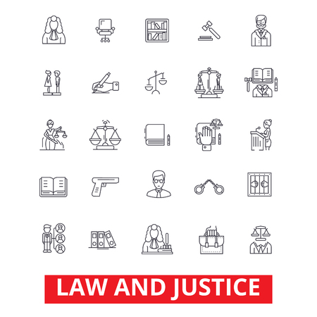 Law firm, lawyer, business attorney, scales of justice, legal court, gavel judge line icons. Editable strokes. Flat design vector illustration symbol concept. Linear signs isolated on white background Illustration