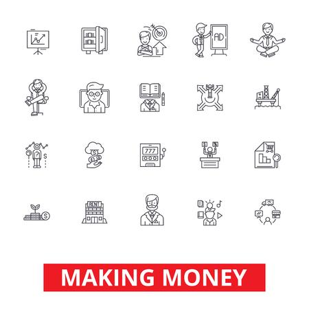 Geld verdienen, financiele besparingen, zakelijk succes, investeringen, financiën inkomen lijn iconen. Bewerkbare strepen. Vlak ontwerp vector illustratie symbool concept. Lineaire tekens geïsoleerd op een witte achtergrond Stock Illustratie