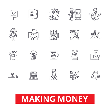 Making money, financial savings, business success, investment, finance income line icons. Editable strokes. Flat design vector illustration symbol concept. Linear signs isolated on white background Illustration