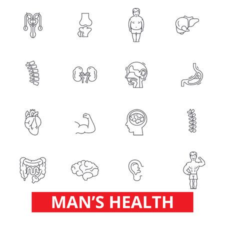 Mens gezondheid, gezonde fitness levensstijl, actieve sport man, urologie, cardiologie lijn iconen. Bewerkbare strepen. Vlak ontwerp vector illustratie symbool concept. Lineaire tekens geïsoleerd op een witte achtergrond