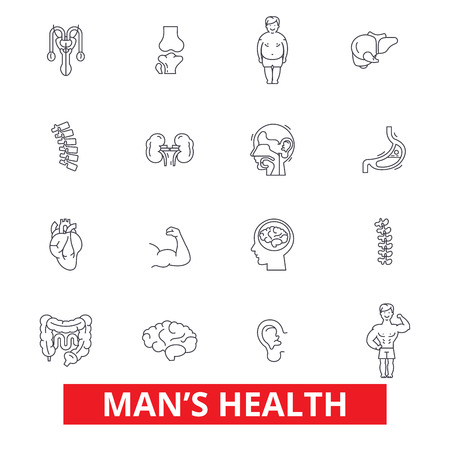 endocrinology: Mens health, healthy fitness lifestyle, active sport man, urology, cardiology line icons. Editable strokes. Flat design vector illustration symbol concept. Linear signs isolated on white background