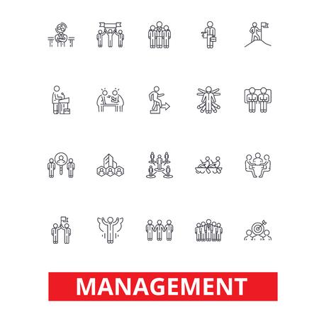 관리, 팀웍, 마케팅, 전략, 인적 자원, 조직 라인 아이콘. 편집 가능한 스트로크. 플랫 디자인 벡터 그림 기호 개념입니다. 흰색 배경에 고립 된 선형 표