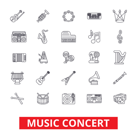 Muziekconcerten, gitaar, piano, dj-feest, drums, instrumenten, noten, band show lijn iconen. Bewerkbare lijnen. Platte ontwerp vector illustratie symbool concept. Lineaire tekens die op witte achtergrond worden geïsoleerd