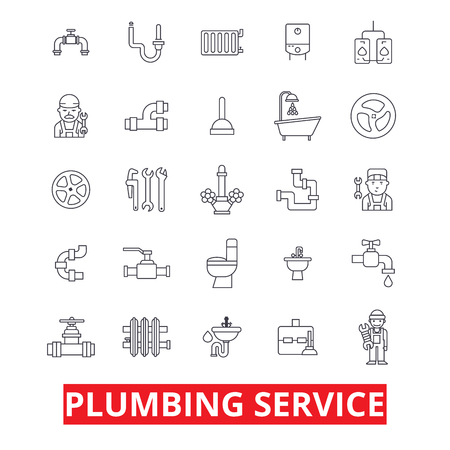 Loodgieterswerk, leidingen, verwarming, gereedschap, loodgieter, water, pruimen, badkamer, hvac lijn iconen. Bewerkbare strepen. Vlak ontwerp vector illustratie symbool concept. Lineaire tekens geïsoleerd op een witte achtergrond
