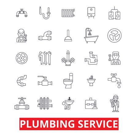 Services de plomberie, tuyaux, chauffage, outils, plombier, eau, prune, salle de bains, icônes de ligne hvac. Traits modifiables. Concept d'illustration vectorielle à motif plat. Signes linéaires isolés sur fond blanc