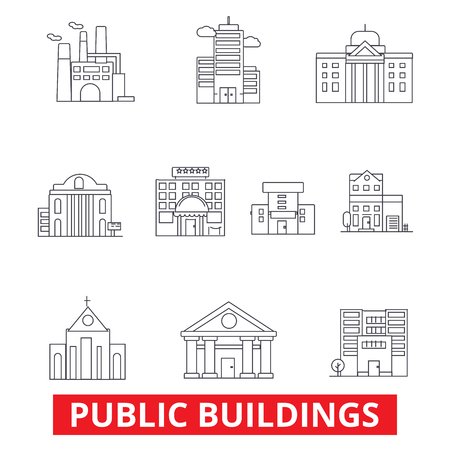 Public institutional buildings, commercial houses, government city estate, town line icons. Editable strokes. Flat design vector illustration symbol concept. Linear signs isolated on white background Stock Vector - 78424470