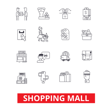 Shopping mall, online payment, retail sales, family shop, fashion store, purchases icons. Editable strokes. Flat design vector illustration symbol concept. Line signs isolated on white background Vectores