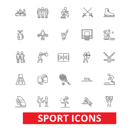 Sport,  football, soccer, box, hockey, running, athlete, training, gym, tennis line icons. Editable strokes. Flat design vector illustration symbol concept. Linear signs isolated on white background Illustration