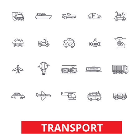 Transport car, truck, ship, tram, bus, delivery, vehicle, logistics, motorcycle line icons. Editable strokes. Flat design vector illustration symbol concept. Linear signs isolated on white background
