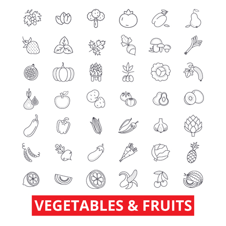 Vegetables, mixed fruits, garden food, fresh tomato, apple, carrot, green salad line icons. Editable strokes. Flat design vector illustration symbol concept. Linear signs isolated on white background