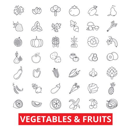 Légumes, fruits mélangés, nourriture de jardin, tomate fraîche, pomme, carotte, icônes de la ligne de salade verte. Traits éditables. Concept de symbole illustration vectorielle design plat. Signes linéaires isolés sur fond blanc