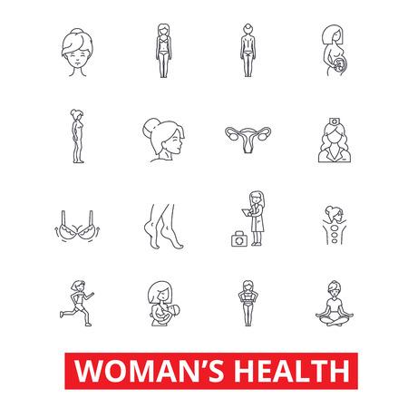 女性の健康、フィットネス健康な女性、乳房、産科、足、婦人科、ダイエット ライン アイコン。編集可能なストローク。フラットなデザイン ベク