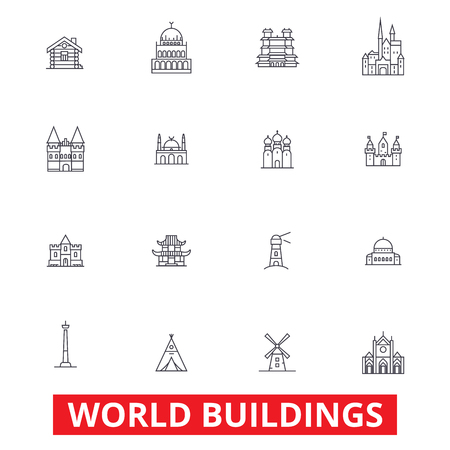 World buildings, pagoda, cottage, villa, mansion, church, temple, real estate line icons. Editable strokes. Flat design vector illustration symbol concept. Linear signs isolated on white background Çizim