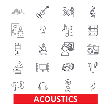 Acoustics, sound, music, guitar, electric, guitarist, wave, audio, speaker line icons. Editable strokes. Flat design vector illustration symbol concept. Linear signs isolated on white background