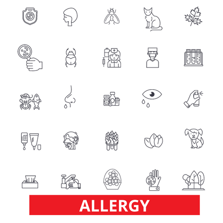 Allergy, food, season, desease, sneeze, pollen, asthma, allergens, allergic line icons. Editable strokes. Flat design vector illustration symbol concept. Linear signs isolated on white background Illustration