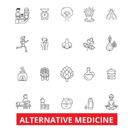 Alternatieve geneeskunde, genezing, therapie, acupunctuur, energie, homeopathie, yoga lijn iconen. Bewerkbare lijnen. Platte ontwerp vector illustratie symbool concept. Lineaire tekens die op witte achtergrond worden geïsoleerd