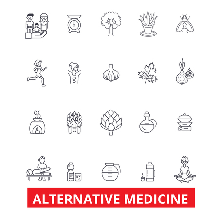 Alternative medicine, healing, therapy, acupuncture, energy, homeopathy, yoga line icons. Editable strokes. Flat design vector illustration symbol concept. Linear signs isolated on white background Illustration