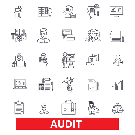 Audit, review, accounting, compliance, finance, analysis, numbers, check, tax line icons. Editable strokes. Flat design vector illustration symbol concept. Linear signs isolated on white background