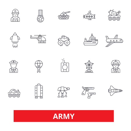 Army, military, soldier, navy, war, marine, camouflage, action, forces line icons. Editable strokes. Flat design vector illustration symbol concept. Linear signs isolated on white background