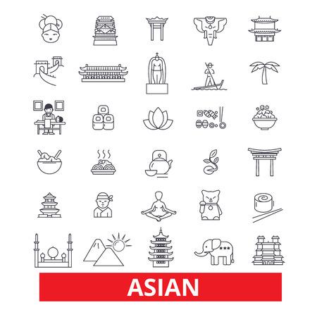 Asia, gente china, indio, cultura japonesa, línea asiática iconos de la pareja. Trazos editables. Plano de diseño de ilustración vectorial símbolo concepto. Señales lineales aisladas sobre fondo blanco
