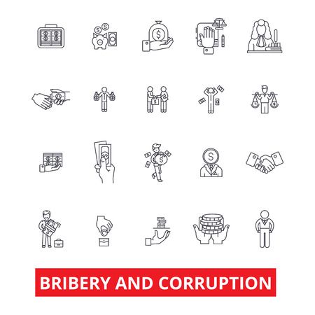 Bribery, corruption, anti-bribery, law, fraud, conflict of interest, money line icons. Editable strokes. Flat design vector illustration symbol concept. Linear signs isolated on white background