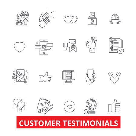 Customer testimonials, satisfaction, reviews, feedback, reaction, reputation line icons. Editable strokes. Flat design vector illustration symbol concept. Linear signs isolated on white background Stok Fotoğraf - 82877694