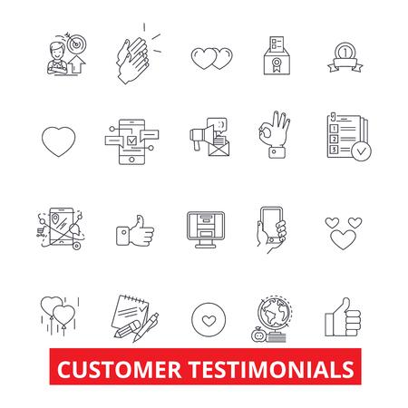 Kunden-Testimonials, Zufriedenheit, Bewertungen, Feedback, Reaktion, Reputation Linie Symbole. Bearbeitbare Striche. Flaches Designvektorillustrations-Symbolkonzept. Lineare Zeichen isoliert auf weißem Hintergrund Vektorgrafik