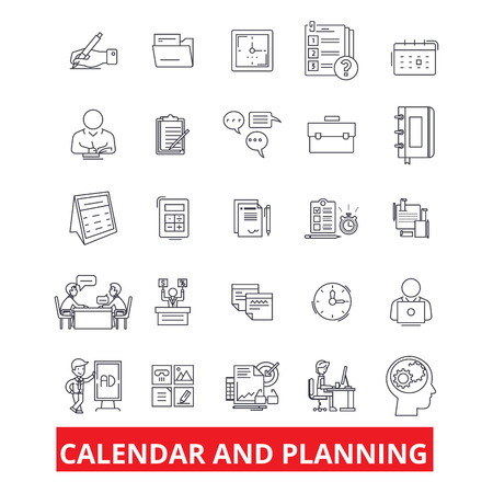 Calender and planning, schedule, planner, organizer, plan, timetable, deadline line icons. Editable strokes. Flat design vector illustration symbol concept. Linear signs isolated on white background Stock Vector - 82861761