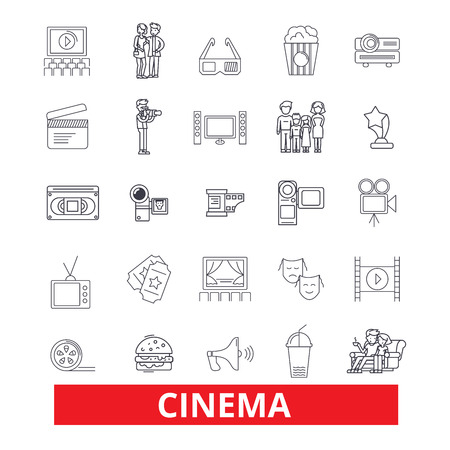 Cinema, film, movie,theatre, entertainment, cinematography, industry, festival line icons. Editable strokes. Flat design vector illustration symbol concept. Linear signs isolated on white background