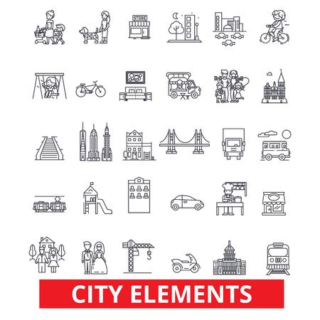 도시 요소, 마을, 도시, 지구, 건축, 교통, 정착 라인 아이콘. 편집 가능한 스트로크. 평면 디자인 벡터 그림은 기호 개념. 흰색 배경에 고립 된 선형 표