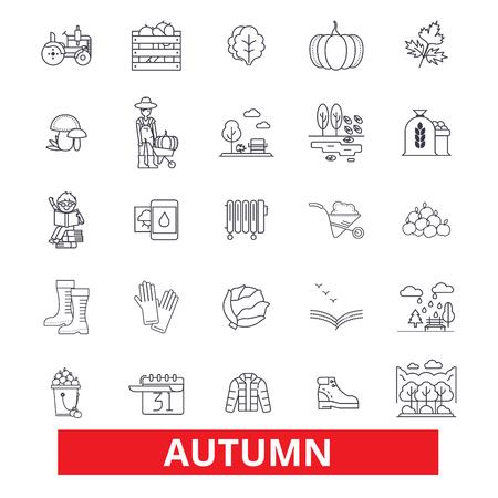 Automne, automne, feuillage, saison, temps froid, récolte, action de grâces, icônes de la ligne des fêtes. Coups modifiables. Design plat vector illustration symbole concept. Signes linéaires isolés sur fond blanc