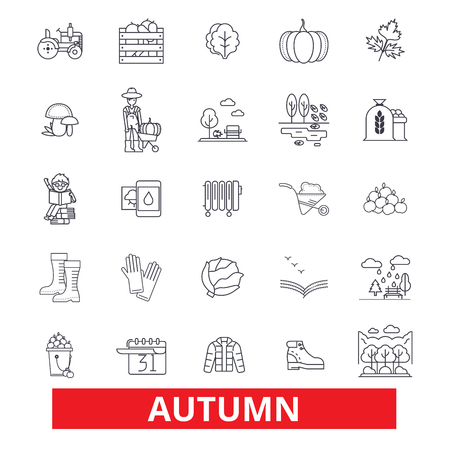 Autumn, fall, foliage, season, cold weather, harvest, thanksgiving, festivities line icons. Editable strokes. Flat design vector illustration symbol concept. Linear signs isolated on white background Ilustração
