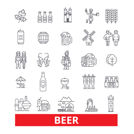 Alcohol, drink, non-alchoholic beverage, ale, cider, light and dark beer, line icons. Editable strokes. Flat design vector illustration symbol concept. Linear signs isolated on white background Illustration