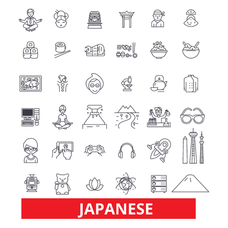 Japan, japaneese,asia,tokyo,samurai, sakura, geisha,sushi line icons. Editable strokes. Flat design vector illustration symbol concept. Linear signs isolated on white background Иллюстрация