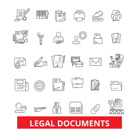 Legal documents, archive, deed, record, papers, legal files, legislation, form line icons. Editable strokes. Flat design vector illustration symbol concept. Linear signs isolated on white background Çizim