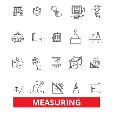 Measuring, amount, distance, quantity, dimension,size,degree,volume,capacity line icons. Editable strokes. Flat design vector illustration symbol concept. Linear signs isolated on white background