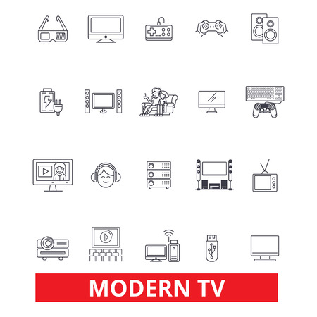 Modern tv, television, broadcasting, media, entertainment, receiver, screen line icons. Editable strokes. Flat design vector illustration symbol concept. Linear signs isolated on white background