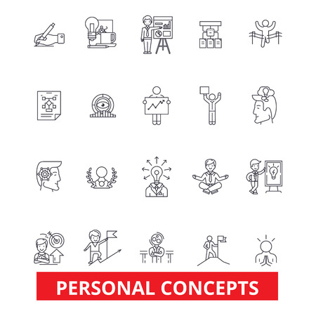 couching: Personal concept, management, success, growth, motivation, control, leadership line icons. Editable strokes. Flat design vector illustration symbol concept. Linear signs isolated on white background