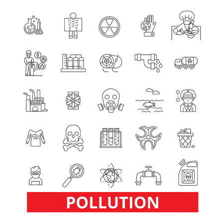 Pollution, dirt, erosion, deterioration, toxic, environment,ecology, damage line icons. Editable strokes. Flat design vector illustration symbol concept. Linear signs isolated on white background