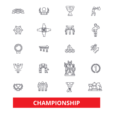 Championship, champion, winner, athlete, professional, competition, winning line icons. Editable strokes. Flat design vector illustration symbol concept. Linear signs isolated on white background Ilustração