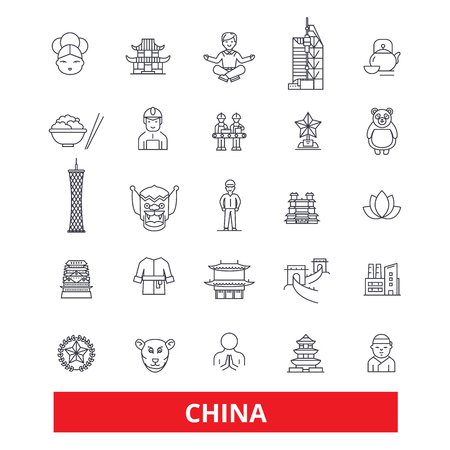 China and chinese, oriental, east, nation, culture, Beijing, Great Wall line icons. Editable strokes. Flat design vector illustration symbol concept. Linear signs isolated on white background Stok Fotoğraf - 82861818