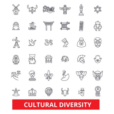 Diversità culturale, icone internazionali, entree, multiculturali, di tolleranza, di linea della pace. Tratti modificabili Concetto di simbolo di illustrazione vettoriale design piatto. Segni lineari isolati su sfondo bianco